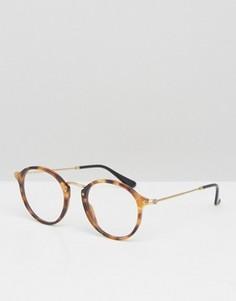 Солнцезащитные очки в круглой черепаховой оправе Ray-Ban 0RX2447V - Коричневый