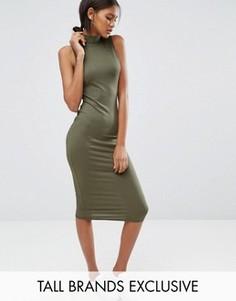 Платье миди в рубчик без рукавов Missguided Tall - Зеленый