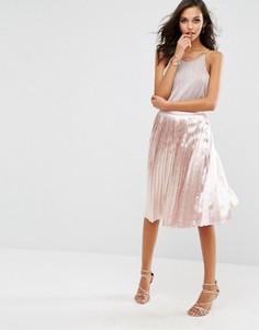 Плиссированная юбка миди Boohoo - Розовый