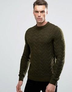 Джемпер крупной вязки в косичку Threadbare - Зеленый