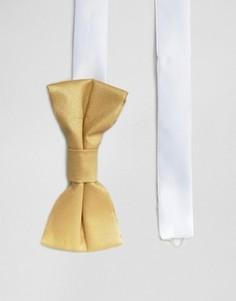 Галстук-бабочка с эффектом металлик Noose & Monkey - Золотой