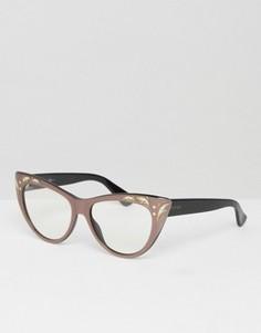Очки кошачий глаз с прозрачными стеклами и отделкой на оправе Gucci - Черный