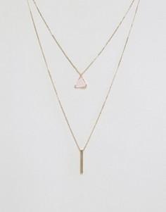 Ожерелье в несколько рядов с подвеской-планкой Nylon - Золотой