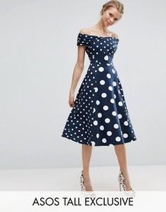 Платье миди в горошек с вырезом лодочкой ASOS TALL - Мульти