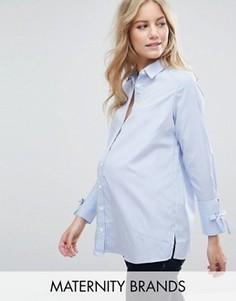 Рубашка в полоску с бантиками на манжетах New Look Maternity - Синий