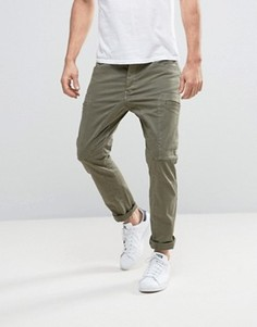 Брюки-карго слим с карманами Esprit - Зеленый