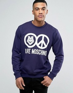 Свитшот с логотипом Love Moschino - Темно-синий