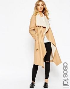 Пальто с каскадной драпировкой спереди и поясом ASOS TALL - Коричневый