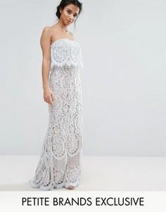 Кружевное платье-бандо макси Jarlo Petite - Синий
