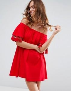 Сарафан с открытыми плечами и декоративными кисточками ASOS - Красный
