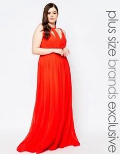Шифоновое платье макси со вставками Forever Unique Plus - Оранжевый