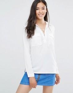 Рубашка со шнуровкой и карманами Soaked in Luxury Rosy - Белый