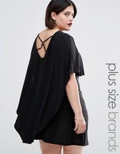 Платье с кейпом и отделкой в восточном стиле сзади Club L Plus - Черный