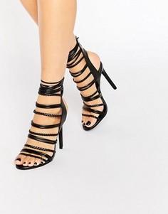 Сандалии на каблуке с веревочками Boohoo - Черный