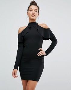 Платье с длинными рукавами и вырезами на плечах Missguided - Черный