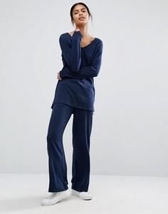 Трикотажные брюки с широкими штанинами Vila - Темно-синий