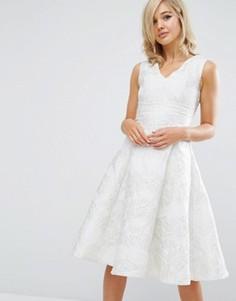 Жаккардовое платье для выпускного длины миди True Decadence - Белый