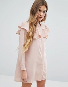 Платье-рубашка с оборками Young Bohemians - Розовый