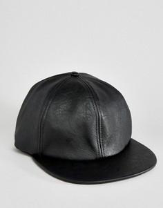 Черная бейсболка в винтажном стиле из искусственной кожи ASOS - Черный