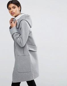 Пальто с добавлением шерсти с контрастным воротником‑стойкой в рубчик ASOS - Серый