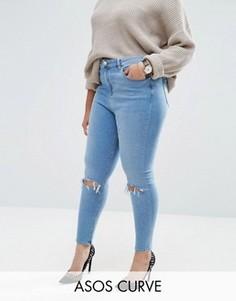 Рваные джинсы скинни с завышенной талией ASOS CURVE Ridley - Синий