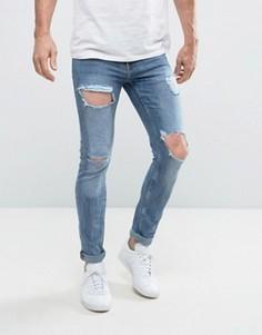 Синие джинсы скинни с прорехами New Look - Синий