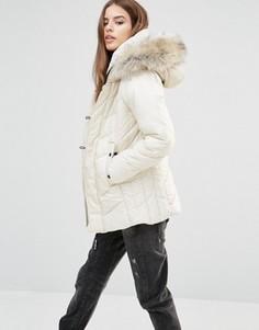 Стеганое пальто с искусственным мехом на воротнике G-Star Alaska - Белый