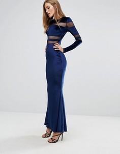 Бархатное платье макси со вставками из сеточки Club L - Темно-синий