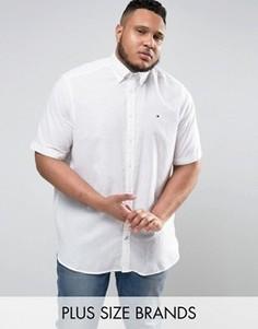 Белая рубашка на пуговицах из хлопка и льна с короткими рукавами Tommy Hilfiger PLUS - Белый