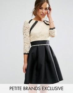 Кружевное платье 2-в-1 с контрастной юбкой Little Mistress Petite - Мульти