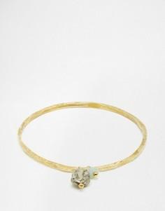 Фактурный латунный браслет с пиритом и амазонитом Mirabelle - Золотой