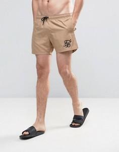 Светло-бежевые шорты для плавания в стиле ретро SikSilk - Stone