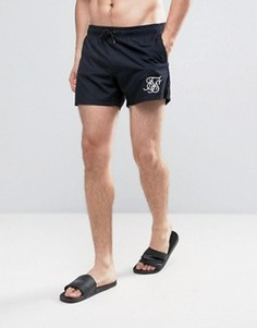 Черные шорты для плавания в стиле ретро SikSilk - Черный
