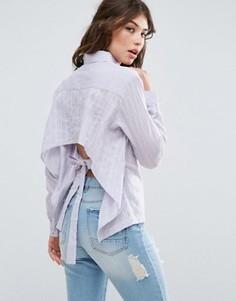 Рубашка с вышивкой в полоску и бантом на спине ASOS - Фиолетовый