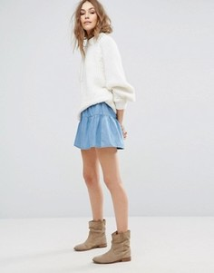Джинсовая мини-юбка с оборкой Vero Moda - Синий