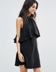 Платье с рюшами и бантиком у горловины Oh My Love - Черный