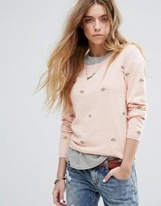 Базовый джемпер с круглым вырезом и вышивкой Maison Scotch - Розовый