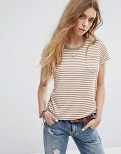 Узкая футболка с круглым вырезом и карманом на груди Maison Scotch - Мульти