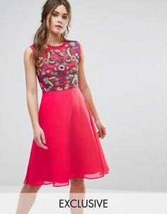 Приталенное платье 2 в 1 с вышивкой Frock And Frill - Красный