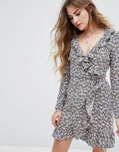 Платье мини с запахом и цветочным принтом Nobodys Child - Мульти