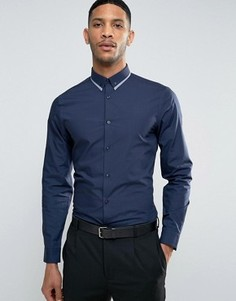 Темно-синяя строгая рубашка классического кроя с отделкой на воротнике New Look - Синий