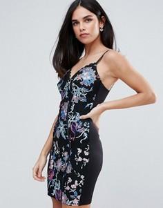 Платье мини с цветочным принтом Lipsy - Мульти