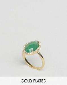 Позолоченное кольцо с полудрагоценным камнем Orelia - Золотой
