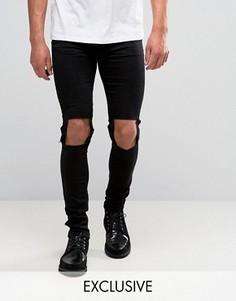 Супероблегающие рваные джинсы Reclaimed Vintage - Черный