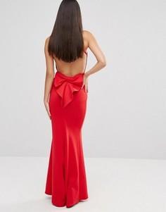 Платье макси с бантом и открытой спиной City Goddess - Красный