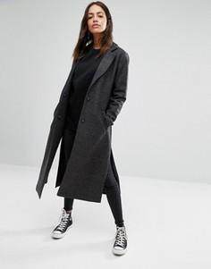 Пальто макси с разрезами по бокам New Look - Черный