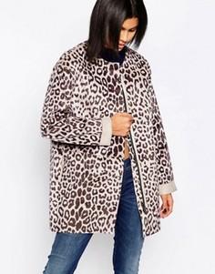 Пальто с отделкой под шерсть пони и леопардовым узором Pepe Jeans - Мульти