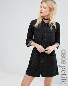 Черное выбеленное джинсовое платье‑рубашка ASOS PETITE - Черный