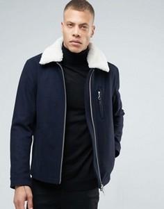 Куртка с двусторонней молнией и воротником борг ADPT - Темно-синий