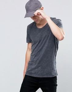 Черная окрашенная футболка с эффектом кислотной стирки Selected - Черный